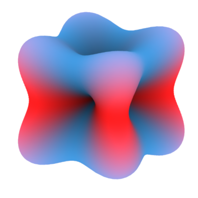 Illustration of the spin (red/blue) and charge (surface) distributions of a spin-orbital entangled atomic orbital